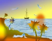 Op strand stock illustratie
