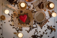 Op view of coffee set on the day of St. Valentine Stock Images