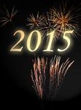 2015 op vuurwerkachtergrond Stock Fotografie