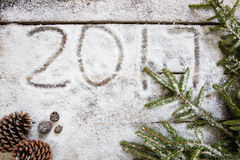 2017 op wit sneeuwbehang met natuurlijke symbolen, hoogste mening Royalty-vrije Stock Fotografie
