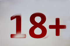 18+ op witte achtergrond Stock Foto