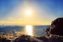 Op zee de winterdag Stock Afbeelding
