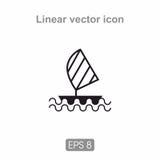 Op zee pictogramzeilboot Royalty-vrije Stock Afbeelding