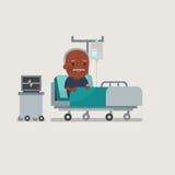 Opa die bij het ziekenhuisbed rusten Stock Afbeelding