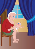 Opa met de baby Stock Afbeelding