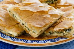 OPA! Spanakopita - Greek Spinach Pie in Close Stock Images