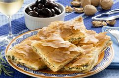 OPA! Spanakopita - Greek Spinach Pie Stock Image
