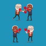 Opa twee die bokshandschoenen het vechten dragen Royalty-vrije Stock Afbeeldingen