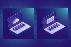 Opacifiez l'icône isométrique de technologie de stockage de données, sécurité de l'information personnelle, ordinateur portable,  image stock