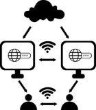 Opacifiez le calcul avec l'ordinateur portable, l'icône de globe et le symbole de wifi Photos libres de droits