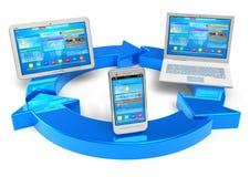 Opacifiez le calcul et le concept sans fil de gestion de réseau Photos libres de droits