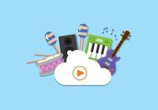 Opacifiez le concept de stockage de media avec l'illustration plate de vecteur de fond d'instruments de musique Photos stock