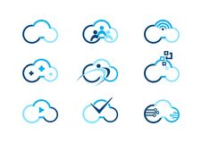 Opacifiez le logo, nuages calculant des logos de concept, conception de vecteur d'illustration de logotype de businness d'abrégé  Image libre de droits