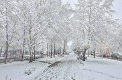 Opad śniegu na ulicie - zima miastowy krajobraz przy śnieżną pogodą obrazy stock