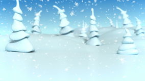 Opad śniegu przy fantazi kreskówki lasową Bożenarodzeniową animacją dla wakacyjnego wideo tła royalty ilustracja