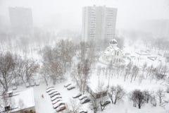 Opad śniegu w mieście Obraz Stock