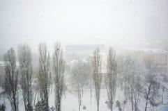 Opad śniegu w mieście Zdjęcia Stock