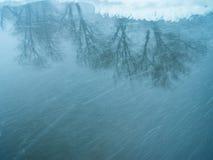 Opad śniegu na rzece Obraz Stock