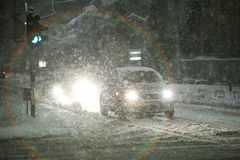 Opad śniegu na ulicach Velika Gorica, Chorwacja zdjęcie stock