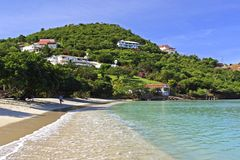 Opłakuje szminki Tropikalną plażę w Grenada Fotografia Royalty Free