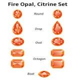Opal, ψευδοτοπαζιακό σύνολο πυρκαγιάς με το κείμενο διανυσματική απεικόνιση