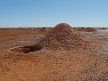 Opal mining in the Australian desert royalty free stock image