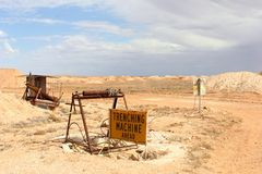 Opal mining tools in the desert of South Australia. Opal mining equipment and machinery in the desert in industrial mining area of Andamooka and Coober Pedy Stock Photography