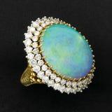 Opal preto e anel de diamante Fotos de Stock Royalty Free