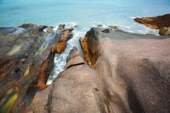 Opal waterponds on granite rocks Royalty Free Stock Images