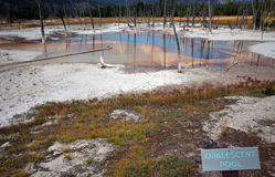 Opalescent Pool hot spring in the Black Sand Geyser Basin in Yellowstone National Park in Wyoming USA Royalty Free Stock Photo
