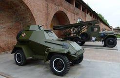 Opancerzonego samochodu BA-64 i BM-13 katiusza jest sowieci walki maszyną rakietowa artyleria Wystawa wojskowy Zdjęcia Stock