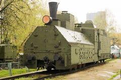Opancerzonego WWII lokomotywy Rosyjskiego przodu lewy widok Zdjęcie Royalty Free