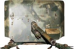 Opancerzony armatni emplacement, odizolowywający na bielu Obraz Royalty Free