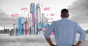 Opanowany wizerunek plecy mężczyzna pozycja przed obrazkową linią horyzontu obrazy royalty free