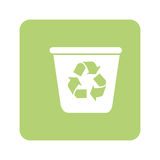 Opaque green background with recycling container Stock Image
