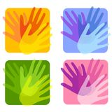 Opaque Handprint Backgrounds. An illustration featuring 4 opaque handprint collage backgrounds in various colours Royalty Free Stock Photo