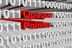 Opaque pointer. In the form of binary code, 3D illustration Royalty Free Stock Images