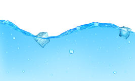 Opaque water background. Background of opaque water with bubbles and floating ice cubes Royalty Free Stock Photo