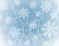 Opaque White Flowers on Blue Background. A background pattern featuring an assortment of decorative white opaque flowers on blue gradient soft background Stock Photos