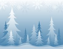 Opaque Winter Forest Blue. A background illustration featuring an opaque blue and white winter forest topped with snowflakes Stock Photos