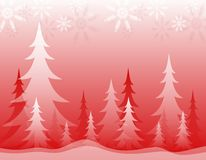 Opaque Winter Forest Red White. A background illustration featuring an opaque red and white winter forest topped with snowflakes Stock Photo