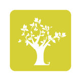 Opaque yellow background with tree Stock Photo
