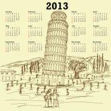 Oparty wierza Pisa 2013 rocznika kalendarz Fotografia Stock