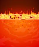 Oparzenie płomienia ogienia wektoru tło Piekła, lawowego lub stopionego stalowy pojęcie, royalty ilustracja