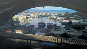 Opatia,Croatia - October 04, 2016: Marine bay with different yachts stock image