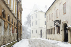Opaticka Street in Zagreb, Croatia. During a snowstorm Stock Photos