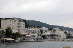 Opatija coastline with beaches,villas and hotel Admiral Royalty Free Stock Photos