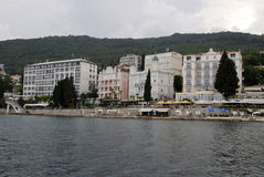 Opatija coastline with beaches,villas and hotels Royalty Free Stock Photography