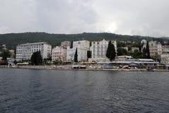 Opatija coastline with beaches,villas and hotels Stock Photos