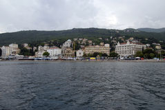 Opatija coastline with beaches,villas and hotels Stock Image